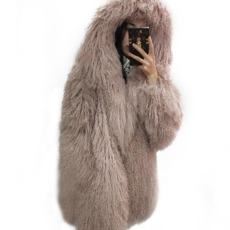Təbii çimərlik yünü tam dəri uzun dizayn palto monqoliya qoyun - Qadın geyimi - Fotoqrafiya 2