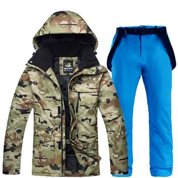 Zestawy snowboardowe kurtki i spodnie mężczyzn kombinezon narciarski bardzo ciepłe nieprzewiewne wodoodporna śnieg na świeżym powietrzu na świeżym powietrzu ubrania tanie i dobre opinie Suknem Pasuje większy niż zwykle proszę sprawdzić ten sklep jest dobór informacji ARCTIC QUEEN