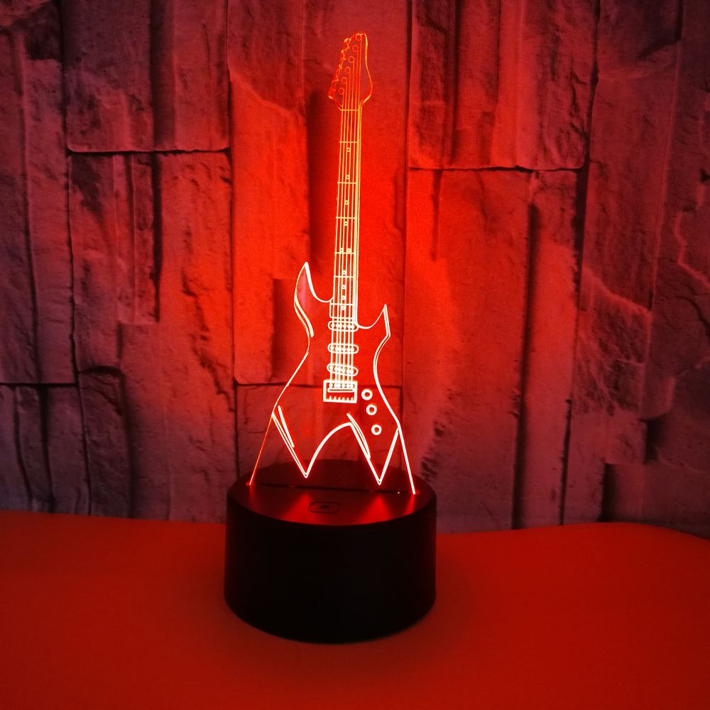 GAOPIN 3D LED USB Remote Touch Lighting Cable Fashion Eletric Guitar Shape Home Decorative Night Light Multicolor Lamp Kids Gift