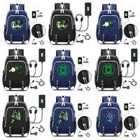 Superhero Green Lantern USB Backpack School Bookbag Knapsack Cosplay Comics Black Laptop Travel Shoulder Bags