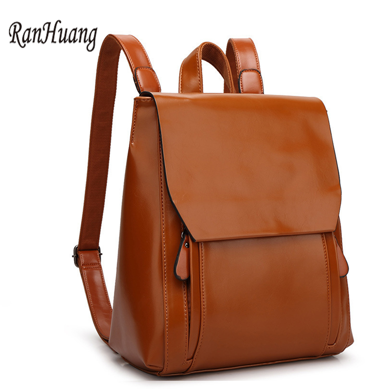RanHuang Women Genuine Leather Backpack High Quality School Bags For Teenagers Girls 5 Colors Travel Bag