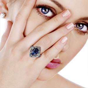 Image 2 - Szjinao Sapphire Rings owalny kwiat elegancki wiktoriański ciemny niebieski kamień szlachetny pierścień 925 Sterling silver Carve Kate Fine Jewelry Wedding