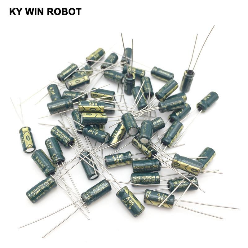 50 pcs 4.7uf 25v   radial 105c electrolytic capacitors