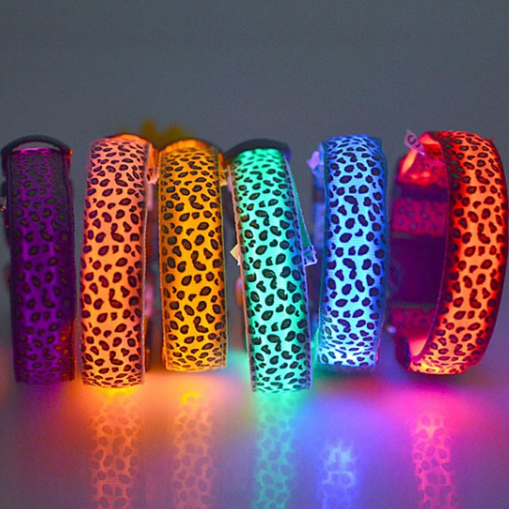 160 pcs/lot LED collier de chien clignotant dans l'obscurité 3 Mode éclairage sécurité réglable en Nylon léopard collier pour animaux lumineux accessoires pour animaux de compagnie