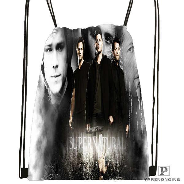 Custom Supernatural @03-Drawstring Backpack Bag Cute Daypack Kids Satchel (Black Back) 31x40cm#180611-01-30