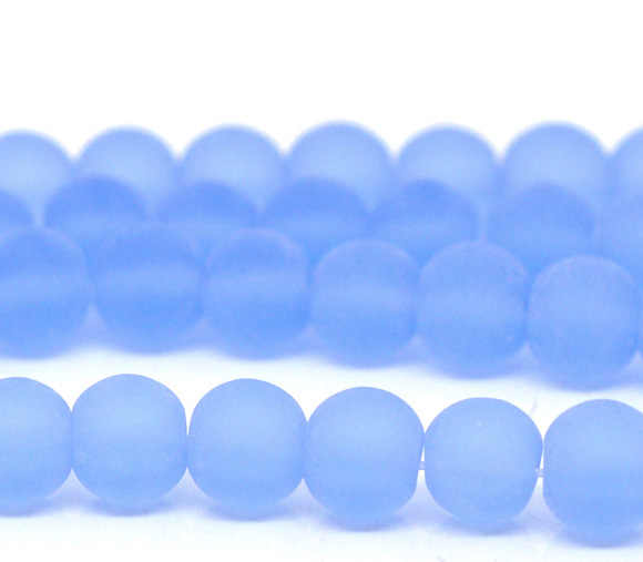 "DoreenBeads Glass Beads Round Light blue Frosted About 6mm Dia,Hole: Approx 1mm,30cm(11 6/8""),1 Strand(Approx 55 PCs/Strand)"