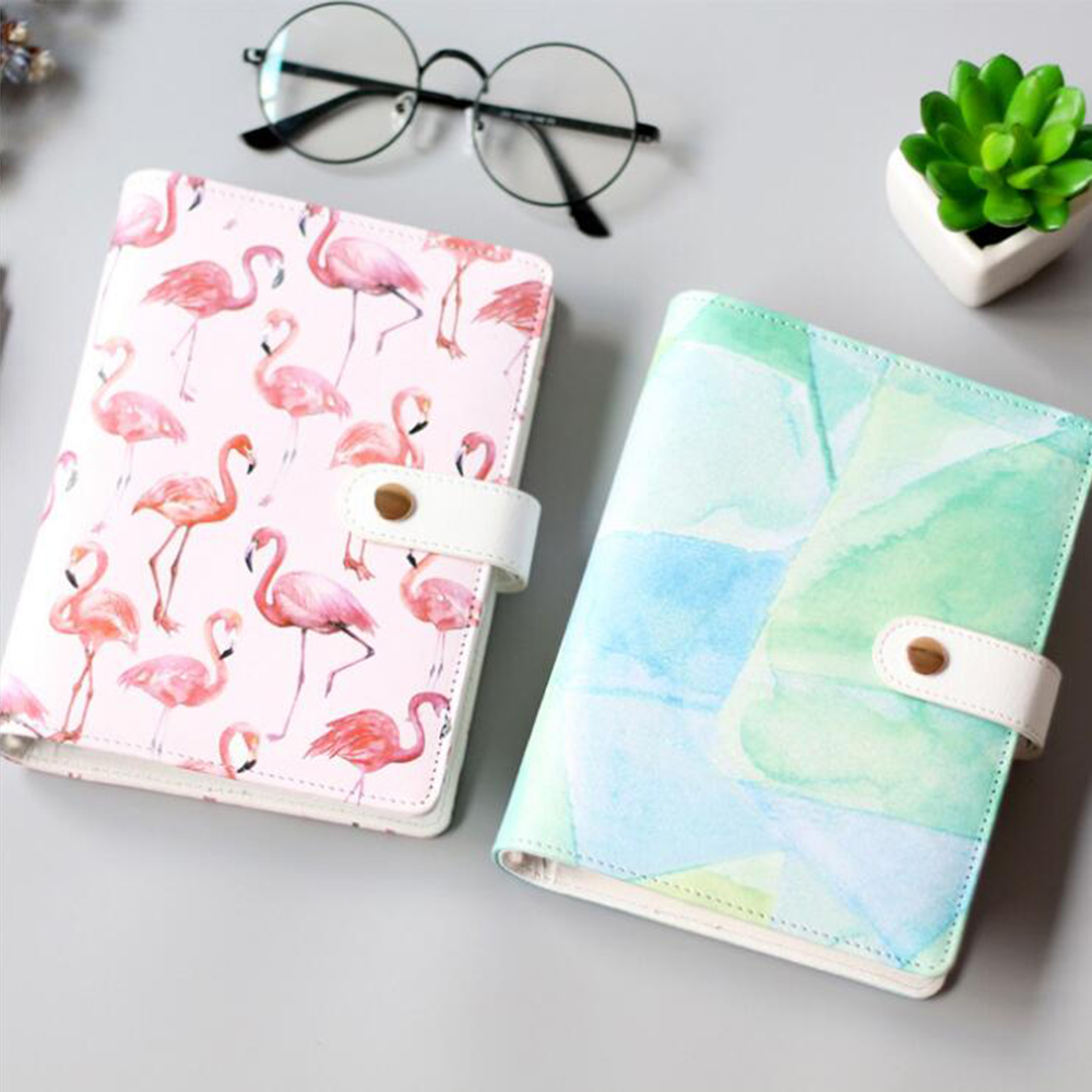 A6 beautiful cute flamingo 6 holes spiral notebook 39 s cover for Beautiful binding