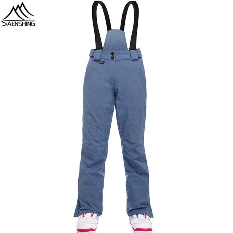 SAENSHING Ski Pants Women Snowboard Pants Waterproof Windproof Thermal Winter Ski Trousers With Belt Outdoor Sports Trousers