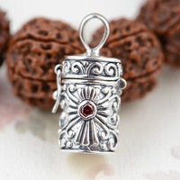 Sterling Silver S925 Silver Pendant gawu box wholesale Silver Antique Style Shurangama mantra can open style