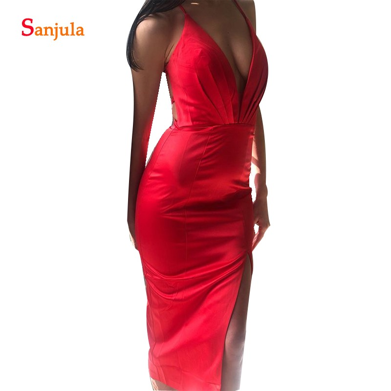 Deep V-neck Criss-Cross Straps Sexy Back   Bridesmaid     Dresses   2018 Simple Tea Length Satin Women Party Gowns Prom Wear BY03