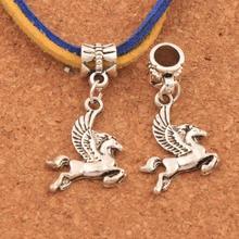 Flying Horse Pegasus Charm Beads 15.5x32mm Dangle Fit European Bracelets Jewelry DIY B172 100PCS Antique Silver frog charm beads 30 8x15 6mm 100pcs antique silver dangle fit european bracelets jewelry diy b167