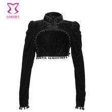 Черная фланелевая короткая куртка в викторианском стиле, верхняя женская одежда, верхняя одежда в готическом стиле, женская одежда, зимний ...