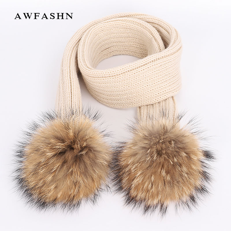 2019 New Lovely Children's Raccoon Fur Pom Poms Scarf Winter High Quality Knit Scarves Fashion Boy Girl Warm Kerchief Shawl Kids