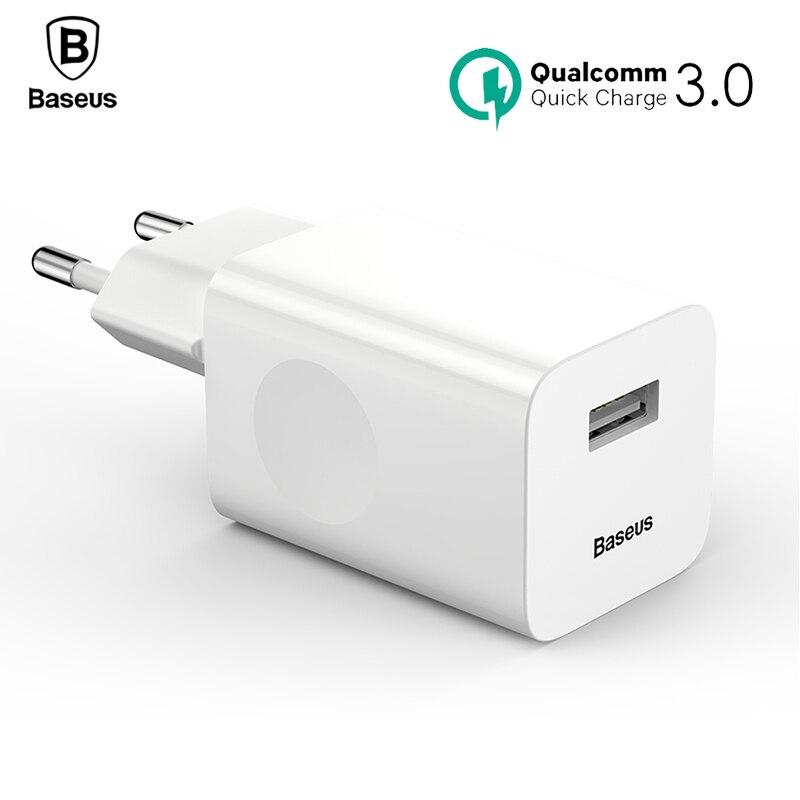 Baseus 24 W carga rápida 3,0 cargador USB QC3.0 viaje pared cargador de teléfono móvil para el iPhone X Samsung Xiaomi mix3 iPad EU enchufe