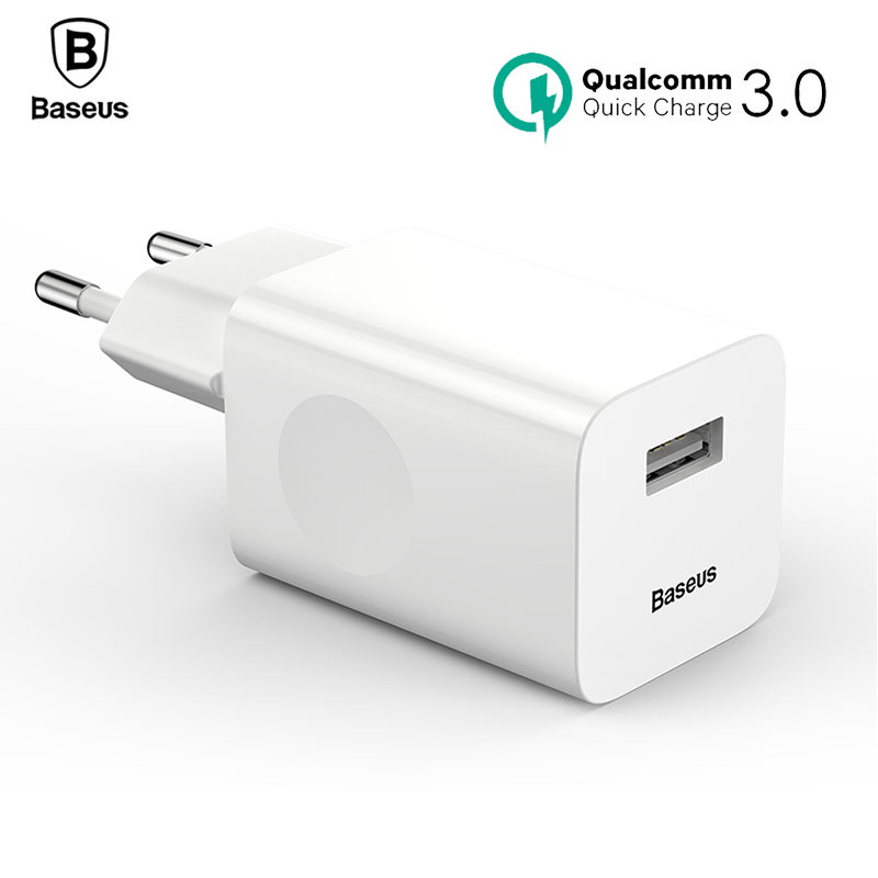 Baseus 24W Quick Charge 3.0 USB Charger QC3.0 Travel Mobile Phone Charger for iPhone X 8 Samsung Xiaomi Huawei iPad EU US Plug