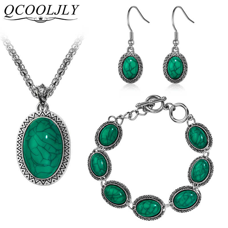 QCOOLJL 3Pcs/Set Vintage Fashion Jewelry Set Antique Oval Necklace Bracelet Earrings Pendant Jewelry Wedding For Woman Brincos