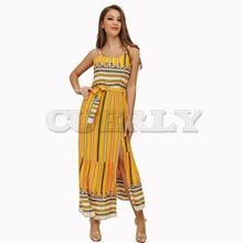 CUERLY Summer Beach Dress Women Boho Stripe Yellow Chic Holiday Sexy Backless Sundress Split Ethnic Print Elegant Maxi Dresses