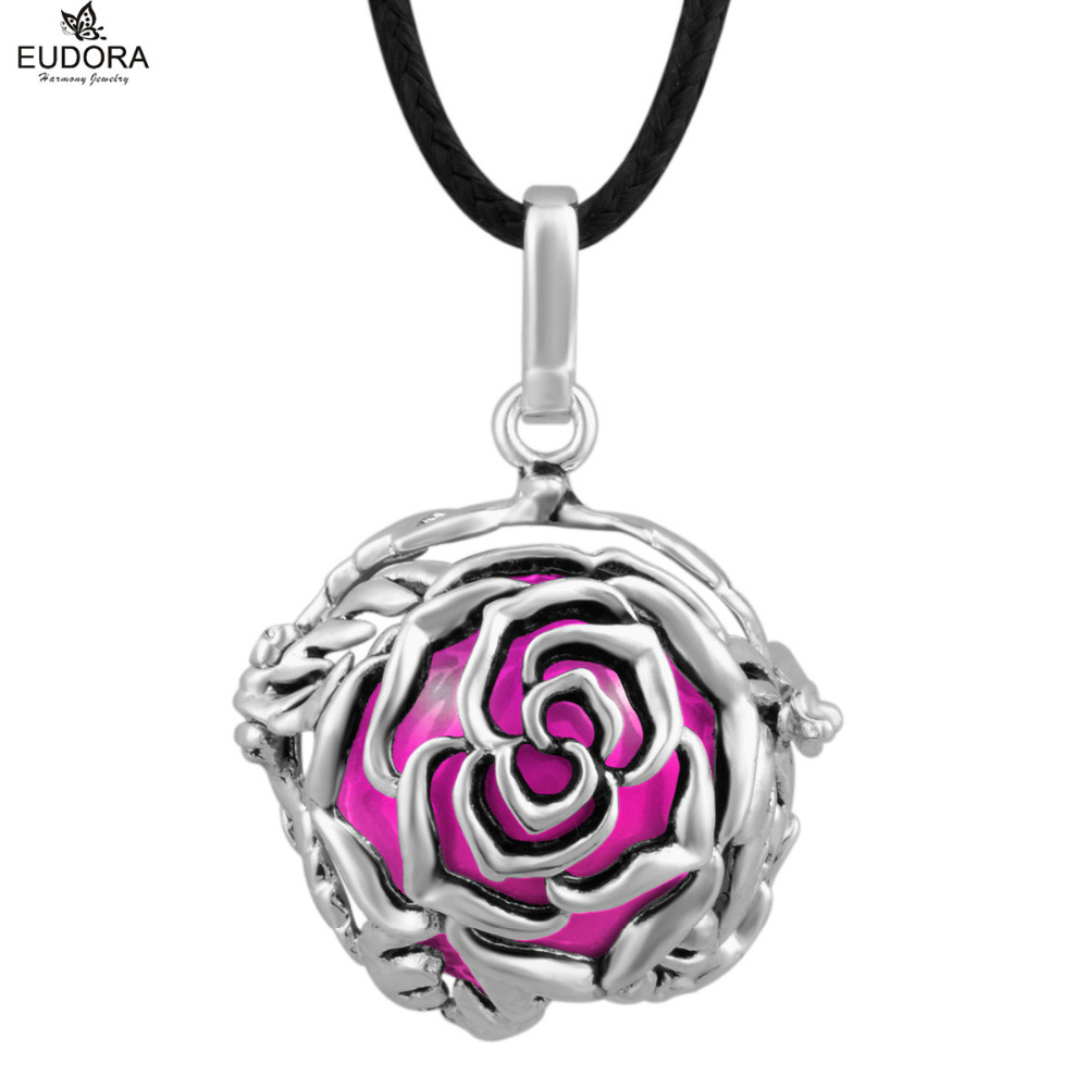 Rose Flower Eudora Harmony Ball Floating Locket 18mm Vintage Copper Cage with Belly Bola Chime Ball Pendant For Pregnant Women