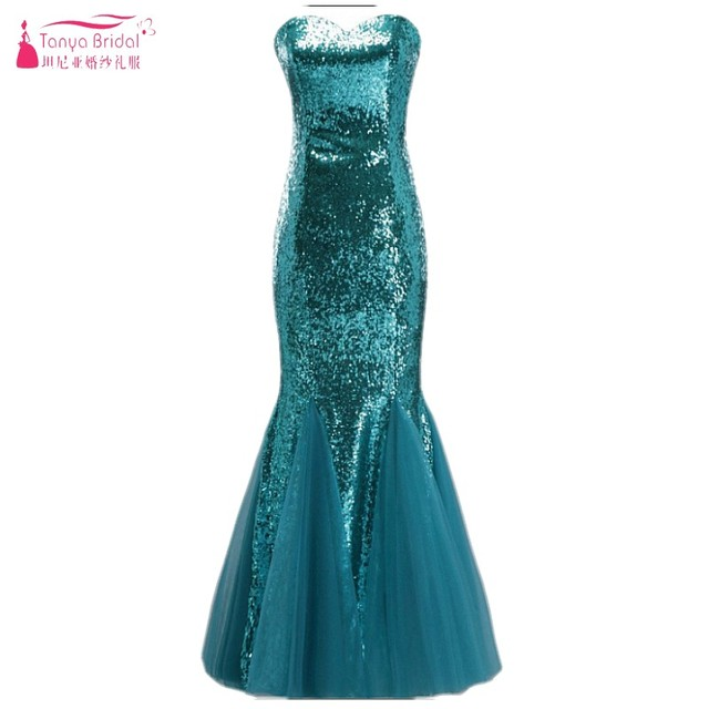 Teal Green Mermaid Long Prom Dresses 2018 Real Photos Sequins ...