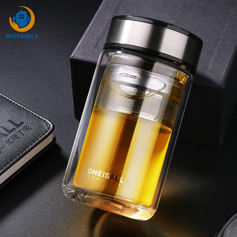 Stainless Steel Water Bottle Hot Leather Glass Tea Infuser Filter Double Wall Tumbler Travel Camping Sports Drinking Bottle