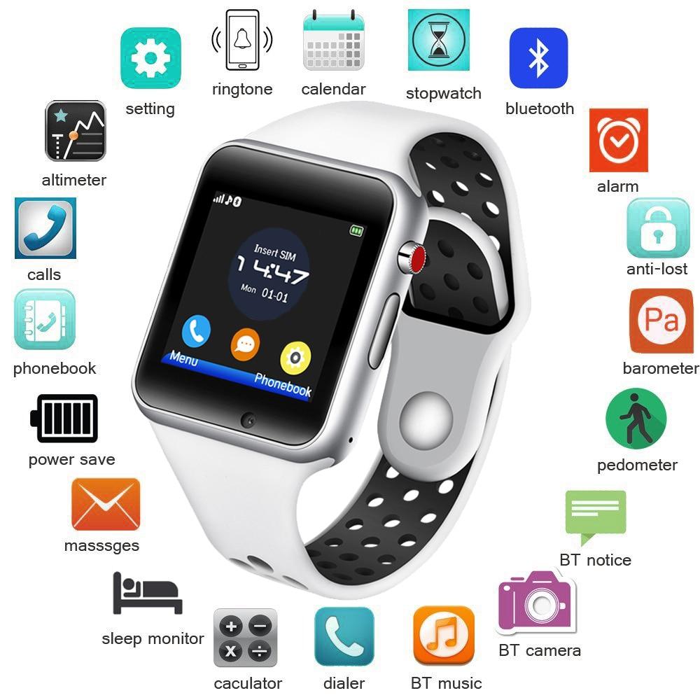 BANGWEI 2018 Nouveau Hommes Femmes Montre Smart Watch Sport étanche LED Couleur Tactile Ccreen Numérique Montre Soutien SIM caméra pour Android IOS