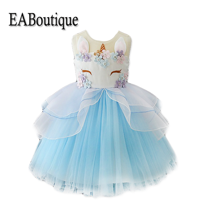 EABoutique New Summer Super Beautiful Unicorn Party Kids Dresses For Girls Nice Stitchwork Double Yarn Girl Wedding Party Dress