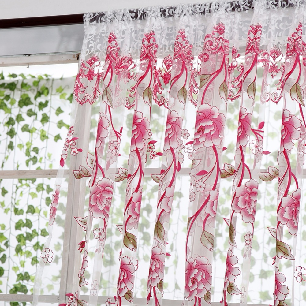 House Office Fashion Window Curtain Flower Print Divider Tulle Voile Drape  Panel Sheer Scarf Valances Curtain In Curtains From Home U0026 Garden On ...