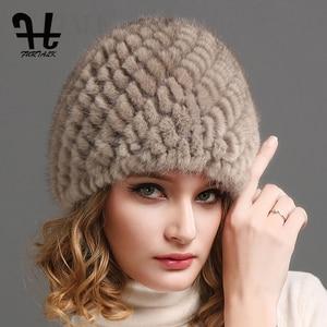 Image 1 - FURTALK ミンクの毛皮の帽子帽子女性の冬のニット毛皮の帽子ロシア女性の高級ブランドの自然毛皮キャップ冬帽子女性 2020
