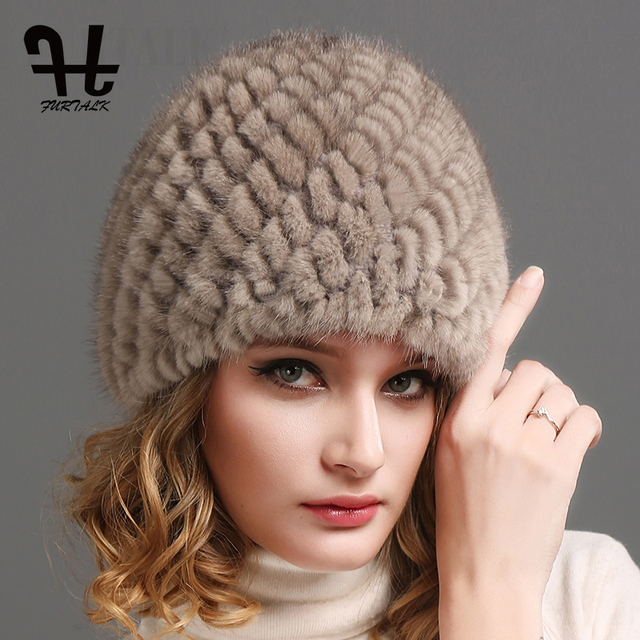 FURTALK ミンクの毛皮の帽子帽子女性の冬のニット毛皮の帽子ロシア女性の高級ブランドの自然毛皮キャップ冬帽子女性 2020