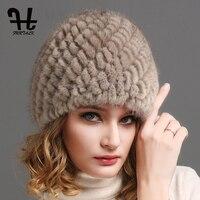 FURTALK Mink Fur Beanie Hat Women Winter Knitted Fur Hat Russian Women Luxury Brand Natural Fur Cap Winter Hat Female 2019