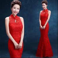 높은 품질의 레드 레이스 물고기 꼬리 긴 치파오 드레스 중국 신부 웨딩 Cheongsams 전통 드레