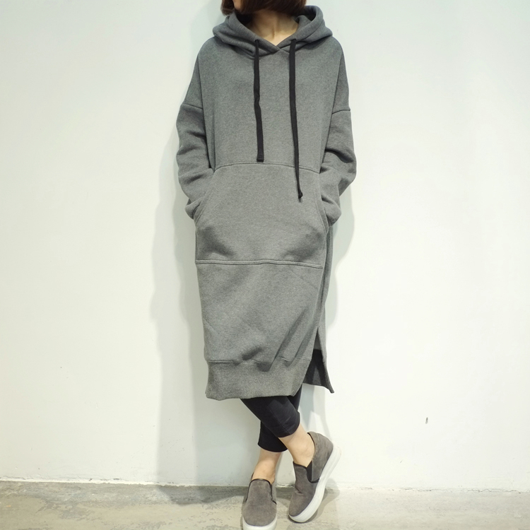 Kpop home womens harajuku Hoody Autumn and Winter Loose Long Fashion hood Hoodie Pullover Clothes Casual Outwears Big size