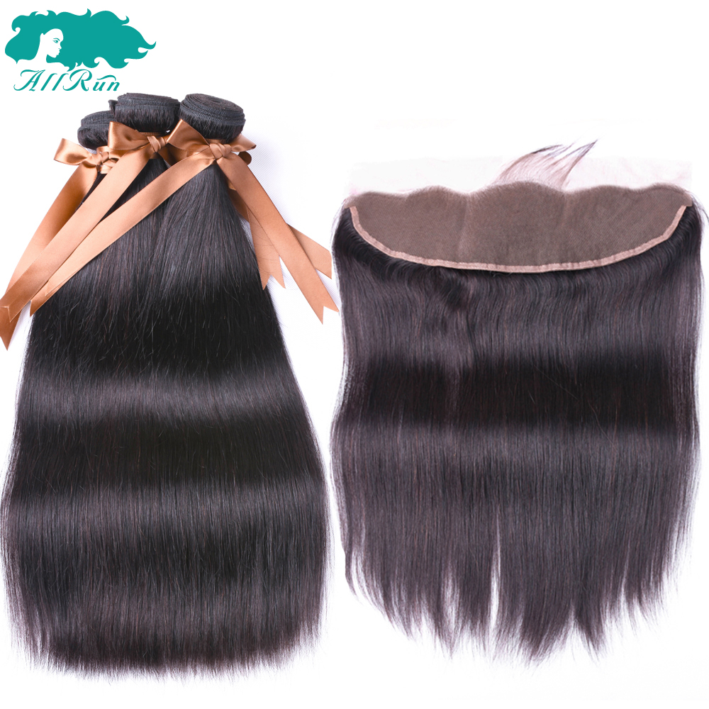 Allrun Brazilian Straight 100% Human Hair Weave 3 Bundles With Lace Frontal Bundles with 13*4 Closure Non-Remy Hair For Woman