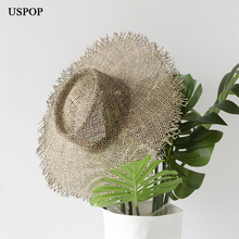 USPOP 2019 New women handmade sun hats breathable natural seaweed straw casual summer wide brim beach hat Jazz