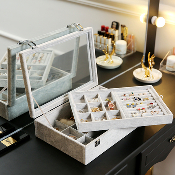 ANFEI Jewelry Display Velvet Gray Carrying Case with Glass Cover Jewelry Ring Display Box 3