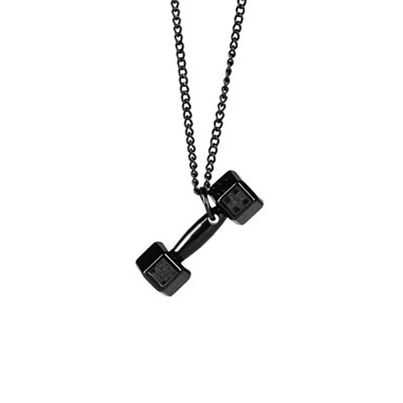 Barbell Dumbbell Titanium Steel Necklace Personality Stainless Steel Geometric Type Hollow Domineering Fitness Clavicular Chain
