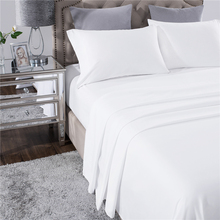 PHF White Home Hotel Bed Sheet Set 4pcs Polyester Bedding Luxury Flat Sheet+Fitted Sheet+2 Pillowcase Queen Size Line