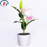 ZjRight New mini LED bulb Solar charge Energy saving Garden night Lighting Waterproof Pot Pink Lily Flower Decor Xmas gift Lamp