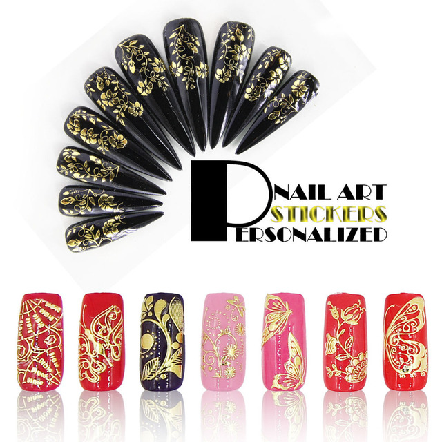Nail Art Stickers Designs 3d Gold Color Nail Stickers 108pcs In One