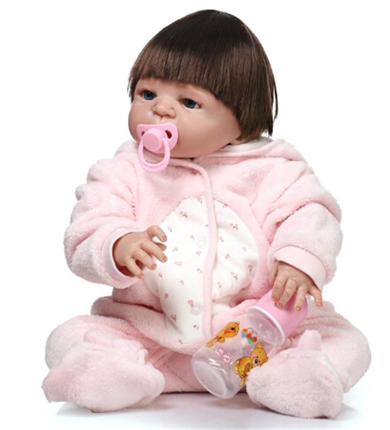 55 سنتيمتر الكامل سيليكون تولد بوي بوي فتاة دمية لعبة واقعية الوليد بيبي الرضع حيا بيبي دمية الفتيات bonecas الأطفال هدية