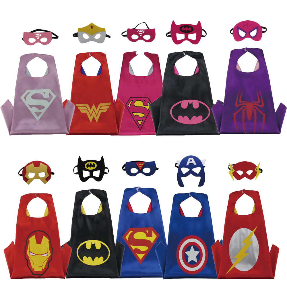 Christmas Halloween Superhero Cartoon Costume Hero Game Costumes Cape With Masks For Kids Birthday Cosplay Free Shipping ninja ninjago superhero spiderman batman capes mask character for kids birthday party clothing halloween cosplay costumes 2 10y