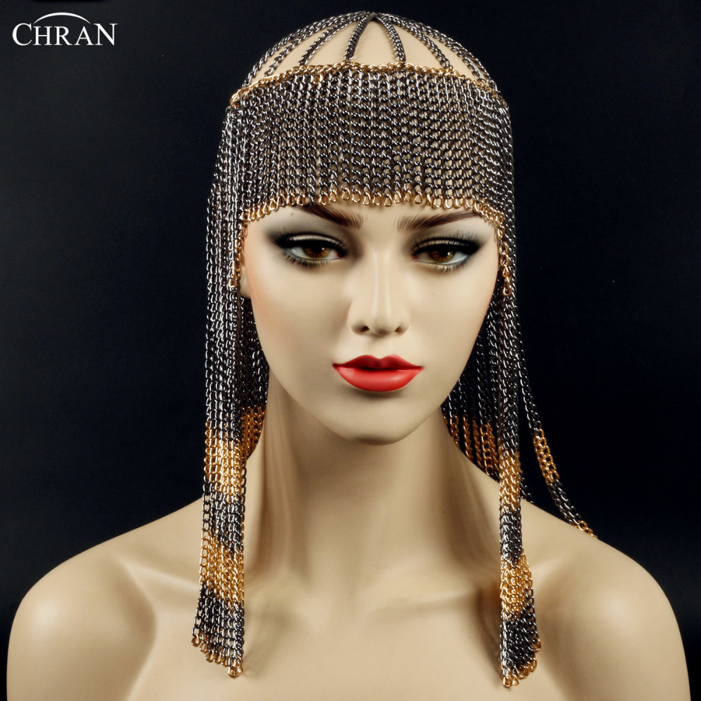 CHRAN Luxury Brand Head Piece Metal Chain Tassels Style Headband Accessories Classic Body Jewelry Head Chain Necklace for Women chic punk style layered tassels body chain for women