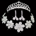 New Arrival Elegant shining Silver Plated Clear Crystal Flower Necklace, Beautiful tiaras, Earrings Set for Wedding, Item: CR054