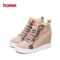 Của phụ nữ Thời Trang Chiều Cao Tăng Giày Thường Cao-Top Thoáng Khí Vải Denim Vải Cổ Điển Ấm Rắn Mujer Zapatos Casuais