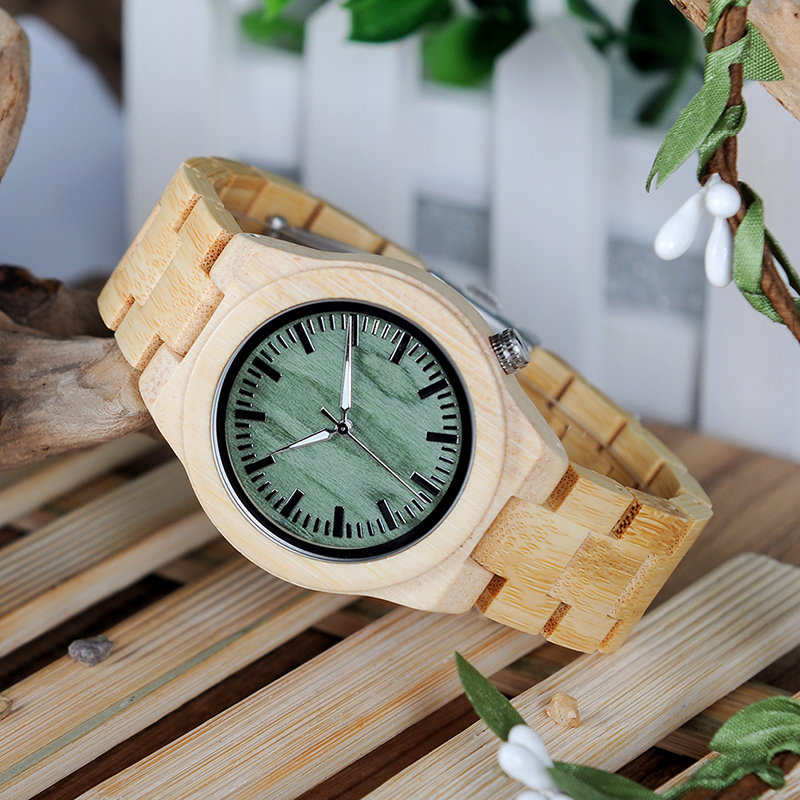 Image 3 - BOBO BIRD lovers Wooden Watch Full Bamboo Green Dial Quartz Watches for Couples in Bamboo Gift BoxLovers Watches   -