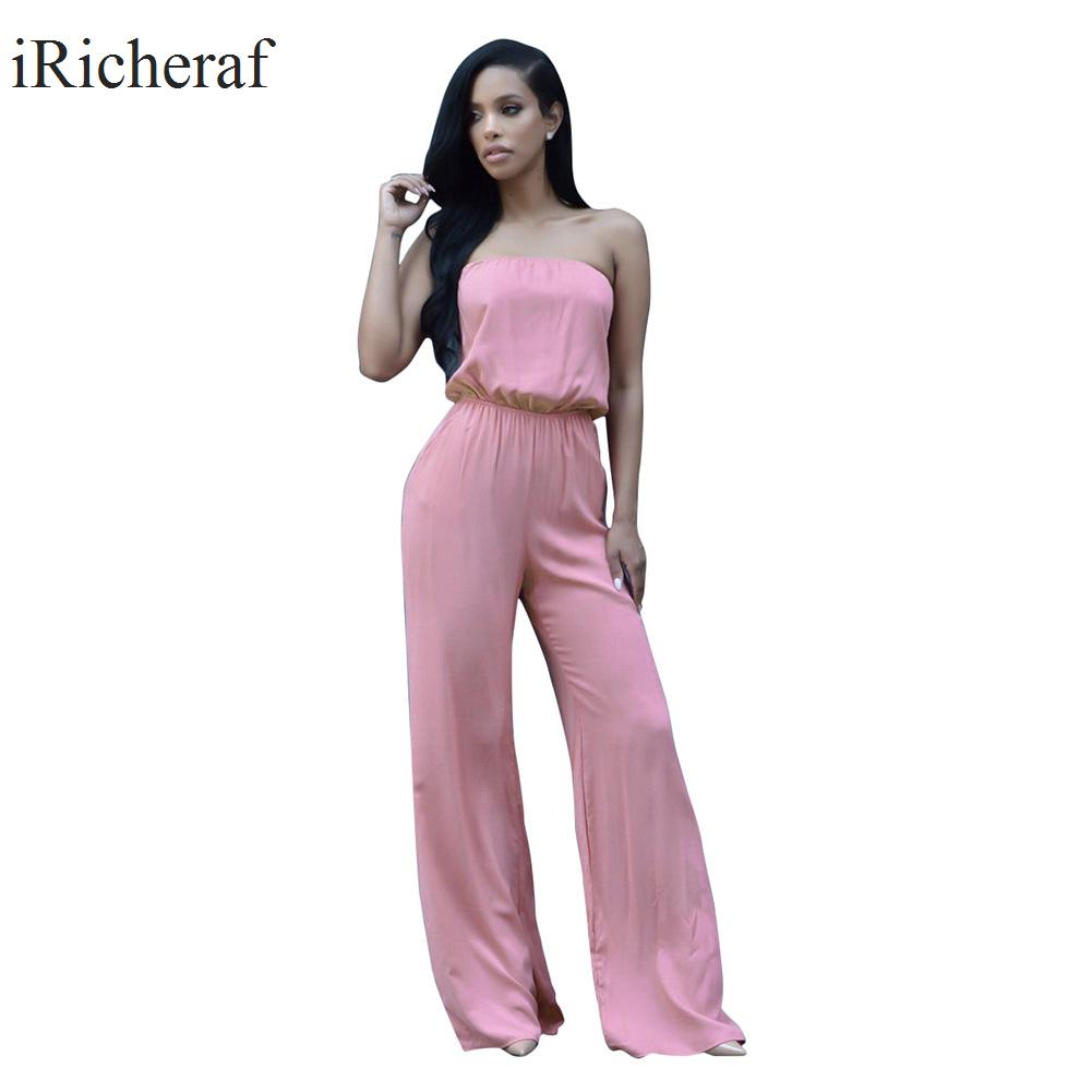 Sexy Rompers Womens Jumpsuit Plus Size Macacao Feminino Strapless Boot Cut Sleeveless Summer Fashion Solid Full Length Jumpsuits