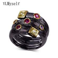Trendy black rings with AAA Square and Round multi color crystal jewelry ringen bagues femme Dropshipping Fashion ring for women