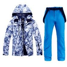 Зимняя Толстая Теплая мужская лыжная куртка+ брюки водонепроницаемый сноуборд набор ветрозащитная походная-30 градусов зимняя уличная одежда
