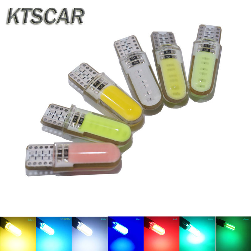 KTSCAR <font><b>100X</b></font> <font><b>T10</b></font> COB silicone 12 LED Lights W5W 194 168 interior light Wedge Door Instrument auto Side Lamp parking bulb 12V image