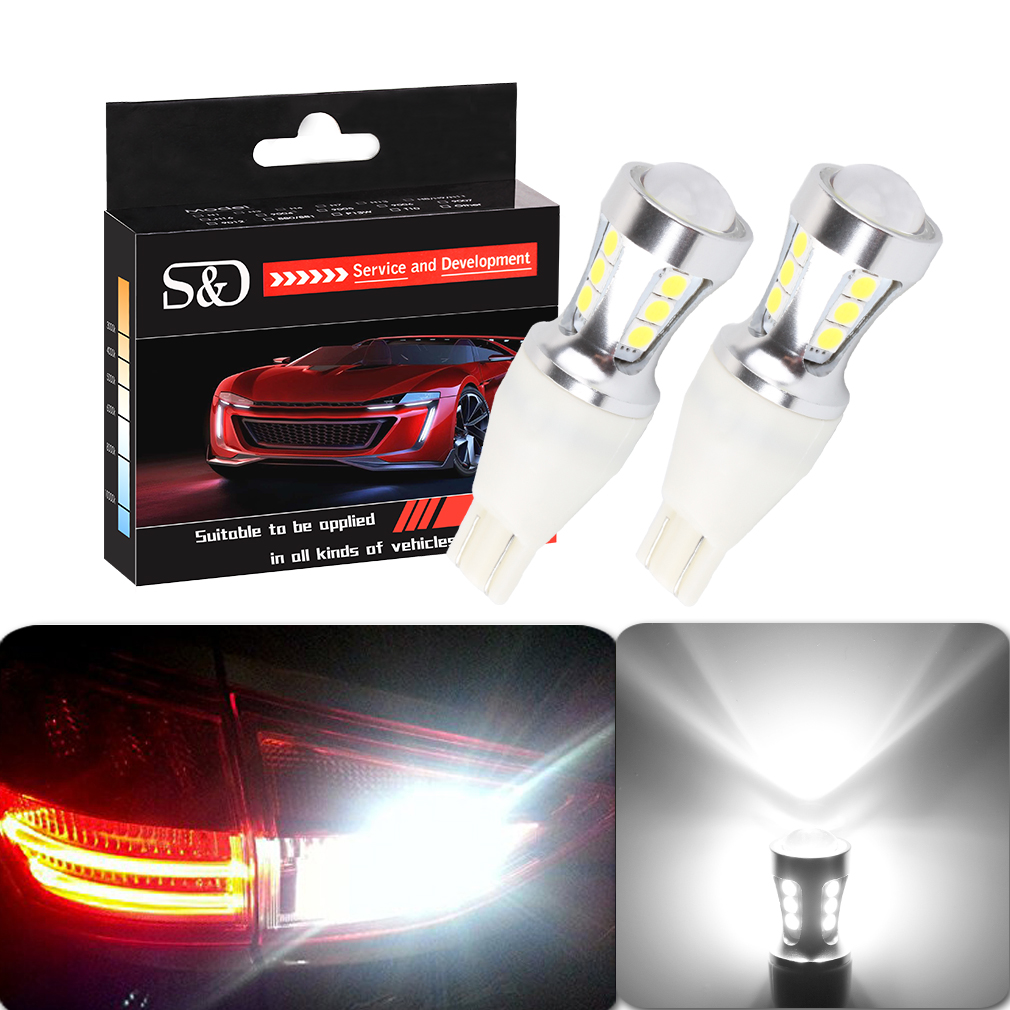 1000Lm T15 LED Canbus OBC Error Free Bulbs t15 LED Wedge Bulb Reverse Lights 921 912 W16W LED Canbus Stop Car lamp White D030 цена и фото